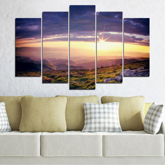 Canvas prints & wall decorative panels - 5 pieces №0320 » Brown, Black, Gray, Beige, Dark grey » Nature, Landscape, Mountain, Sunrise Form #1