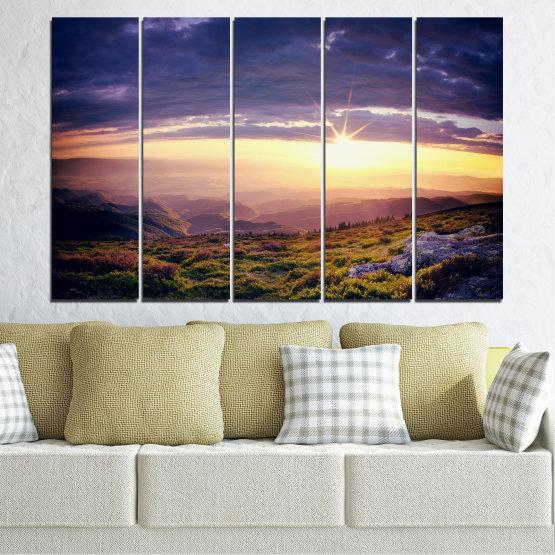 Canvas prints & wall decorative panels - 5 pieces №0320 » Brown, Black, Gray, Beige, Dark grey » Nature, Landscape, Mountain, Sunrise Form #2