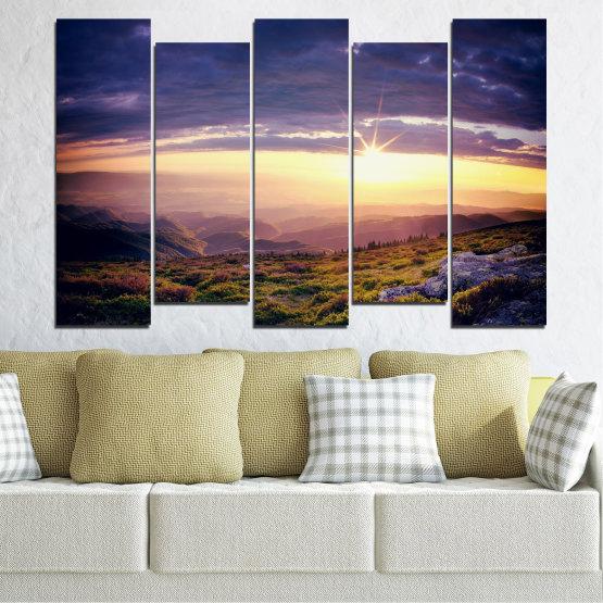 Canvas prints & wall decorative panels - 5 pieces №0320 » Brown, Black, Gray, Beige, Dark grey » Nature, Landscape, Mountain, Sunrise Form #3