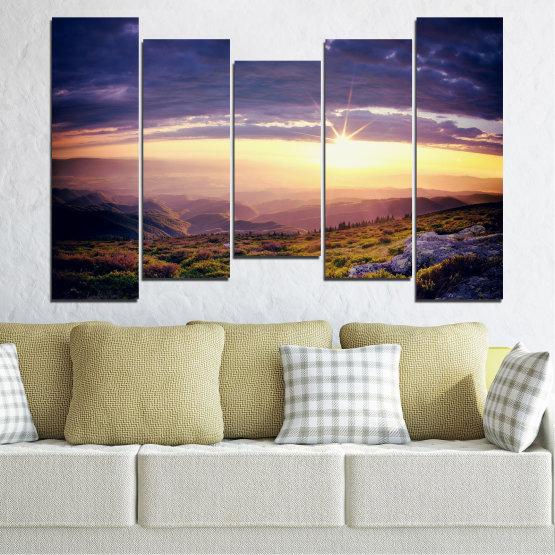 Canvas prints & wall decorative panels - 5 pieces №0320 » Brown, Black, Gray, Beige, Dark grey » Nature, Landscape, Mountain, Sunrise Form #4