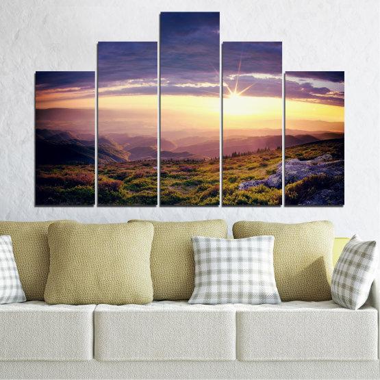 Canvas prints & wall decorative panels - 5 pieces №0320 » Brown, Black, Gray, Beige, Dark grey » Nature, Landscape, Mountain, Sunrise Form #5