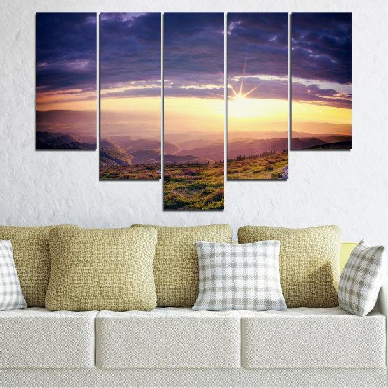 Canvas prints & wall decorative panels - 5 pieces №0320 » Brown, Black, Gray, Beige, Dark grey » Nature, Landscape, Mountain, Sunrise Form #6