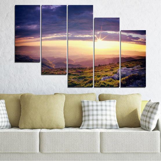 Canvas prints & wall decorative panels - 5 pieces №0320 » Brown, Black, Gray, Beige, Dark grey » Nature, Landscape, Mountain, Sunrise Form #7