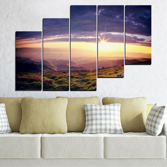 Canvas prints & wall decorative panels - 5 pieces №0320 » Brown, Black, Gray, Beige, Dark grey » Nature, Landscape, Mountain, Sunrise Form #8
