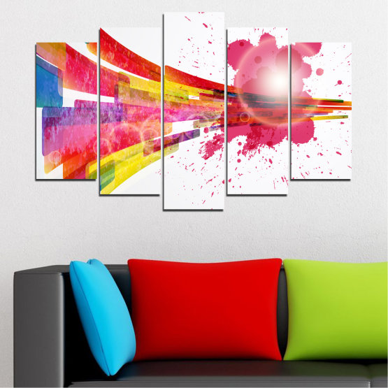 Canvas prints & wall decorative panels - 5 pieces №0321 » Red, Pink, Blue, White, Milky pink » Abstraction, Colorful, Sphere Form #1