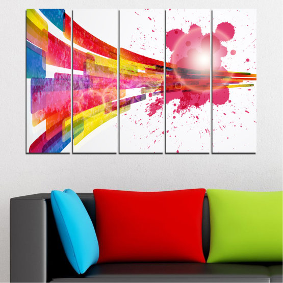 Canvas prints & wall decorative panels - 5 pieces №0321 » Red, Pink, Blue, White, Milky pink » Abstraction, Colorful, Sphere Form #2