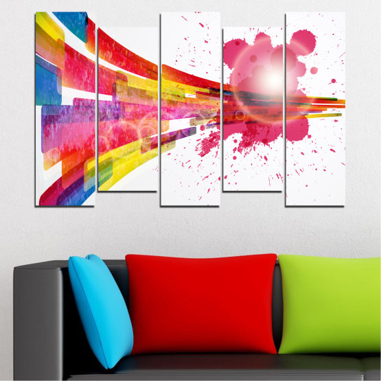 Canvas prints & wall decorative panels - 5 pieces №0321 » Red, Pink, Blue, White, Milky pink » Abstraction, Colorful, Sphere Form #3