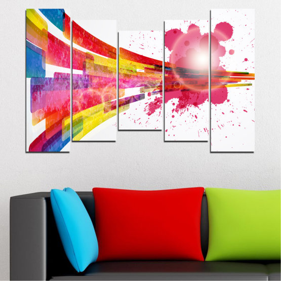 Canvas prints & wall decorative panels - 5 pieces №0321 » Red, Pink, Blue, White, Milky pink » Abstraction, Colorful, Sphere Form #4