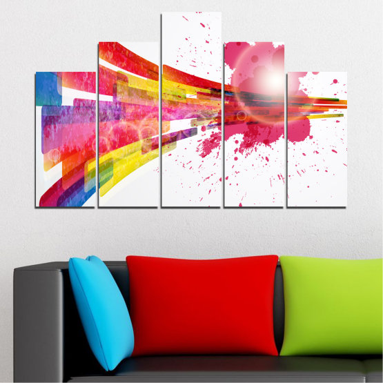 Canvas prints & wall decorative panels - 5 pieces №0321 » Red, Pink, Blue, White, Milky pink » Abstraction, Colorful, Sphere Form #5