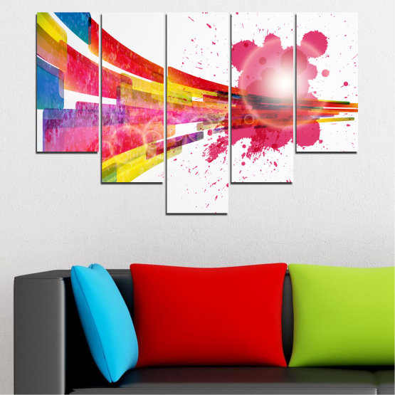 Canvas prints & wall decorative panels - 5 pieces №0321 » Red, Pink, Blue, White, Milky pink » Abstraction, Colorful, Sphere Form #6