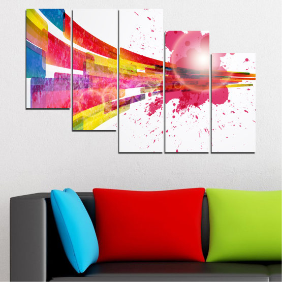 Canvas prints & wall decorative panels - 5 pieces №0321 » Red, Pink, Blue, White, Milky pink » Abstraction, Colorful, Sphere Form #7
