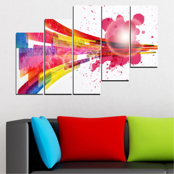 Canvas prints & wall decorative panels - 5 pieces №0321 » Red, Pink, Blue, White, Milky pink » Abstraction, Colorful, Sphere Form #8