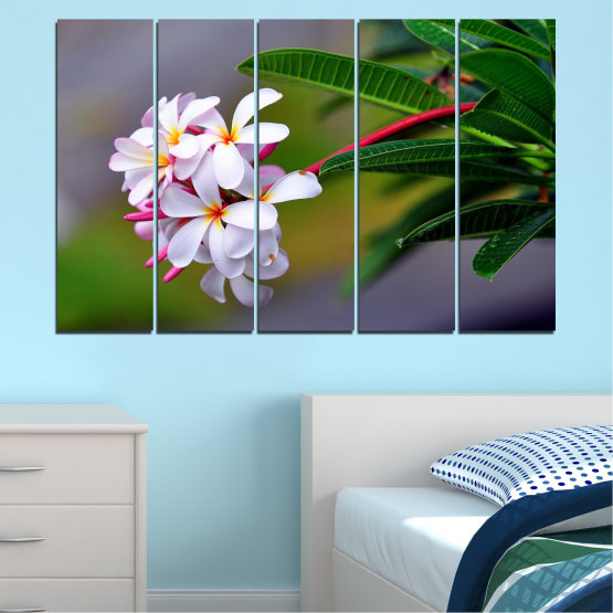 Canvas prints & wall decorative panels - 5 pieces №0322 » Green, Black, Gray, Dark grey » Flowers, Fresh, Plumeria Form #2