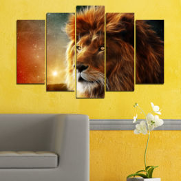 Animal, Sun, Collage, Drawing, Portrait, Lion » Orange, Brown, Black, Dark grey