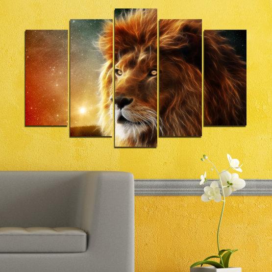 Декоративни панели и картини от канава - от 5 части №0323 » Оранжев, Кафяв, Черен, Тъмно сив » Животни, Рисунка, Колаж, Слънце, Портрет, Лъв Form #1