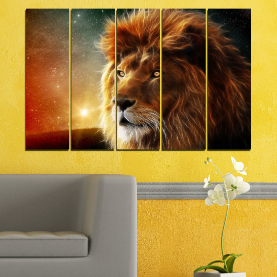 Canvas prints & wall decorative panels - 5 pieces №0323 » Orange, Brown, Black, Dark grey » Animal, Drawing, Collage, Sun, Portrait, Lion Form #2