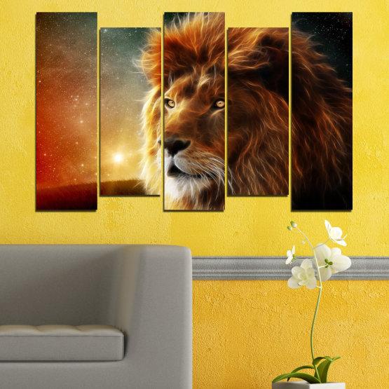 Декоративни панели и картини от канава - от 5 части №0323 » Оранжев, Кафяв, Черен, Тъмно сив » Животни, Рисунка, Колаж, Слънце, Портрет, Лъв Form #3