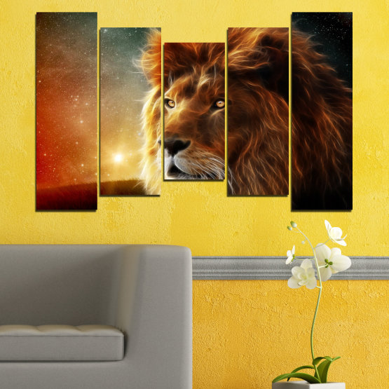 Canvas prints & wall decorative panels - 5 pieces №0323 » Orange, Brown, Black, Dark grey » Animal, Drawing, Collage, Sun, Portrait, Lion Form #4