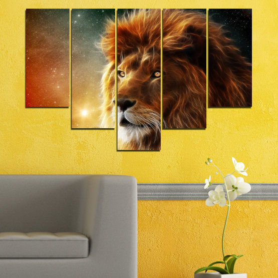 Декоративни панели и картини от канава - от 5 части №0323 » Оранжев, Кафяв, Черен, Тъмно сив » Животни, Рисунка, Колаж, Слънце, Портрет, Лъв Form #6