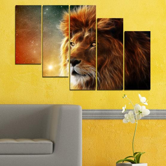 Декоративни панели и картини от канава - от 5 части №0323 » Оранжев, Кафяв, Черен, Тъмно сив » Животни, Рисунка, Колаж, Слънце, Портрет, Лъв Form #7