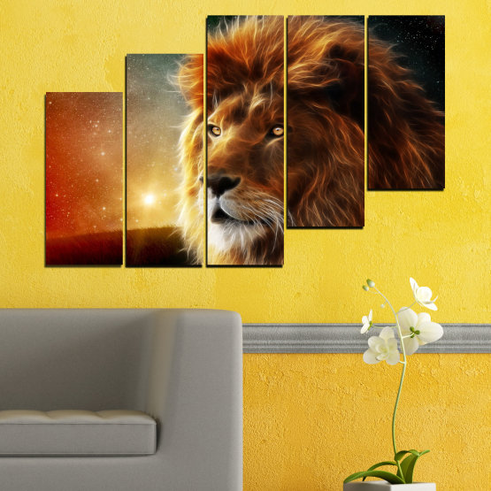 Canvas prints & wall decorative panels - 5 pieces №0323 » Orange, Brown, Black, Dark grey » Animal, Drawing, Collage, Sun, Portrait, Lion Form #8