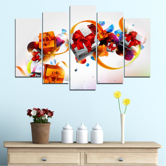 Canvas prints & wall decorative panels - 5 pieces №0324 » Turquoise, Gray, White » Collage, Colorful, Christmas, Gift, Holiday Form #1