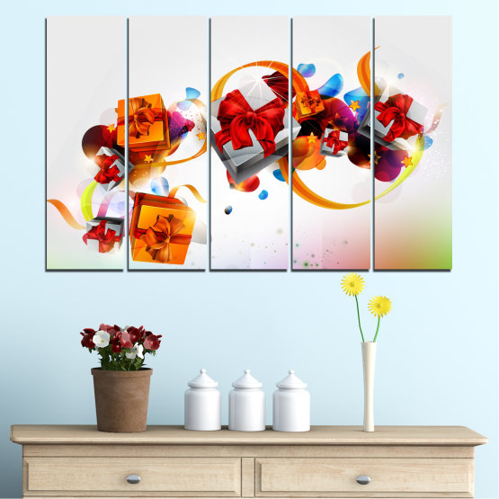 Canvas prints & wall decorative panels - 5 pieces №0324 » Turquoise, Gray, White » Collage, Colorful, Christmas, Gift, Holiday Form #2
