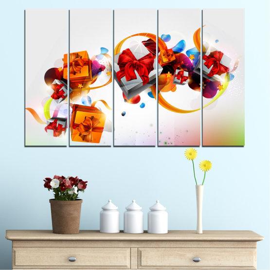 Декоративни панели и картини от канава - от 5 части №0324 » Тюркоаз, Сив, Бял » Колаж, Цветен, Подарък, Коледа, Празник Form #2
