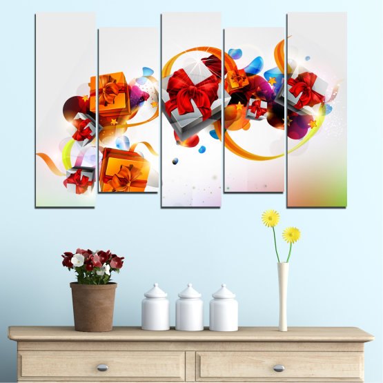 Canvas prints & wall decorative panels - 5 pieces №0324 » Turquoise, Gray, White » Collage, Colorful, Christmas, Gift, Holiday Form #3