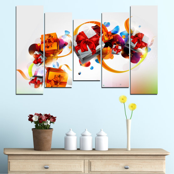 Canvas prints & wall decorative panels - 5 pieces №0324 » Turquoise, Gray, White » Collage, Colorful, Christmas, Gift, Holiday Form #4