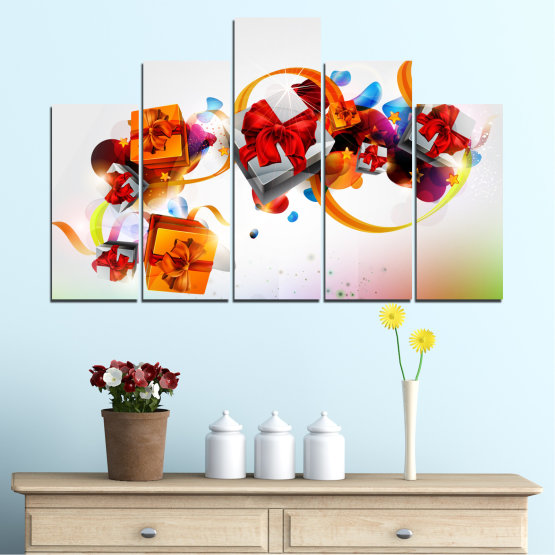 Canvas prints & wall decorative panels - 5 pieces №0324 » Turquoise, Gray, White » Collage, Colorful, Christmas, Gift, Holiday Form #5