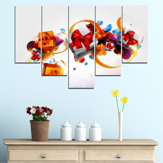 Canvas prints & wall decorative panels - 5 pieces №0324 » Turquoise, Gray, White » Collage, Colorful, Christmas, Gift, Holiday Form #6