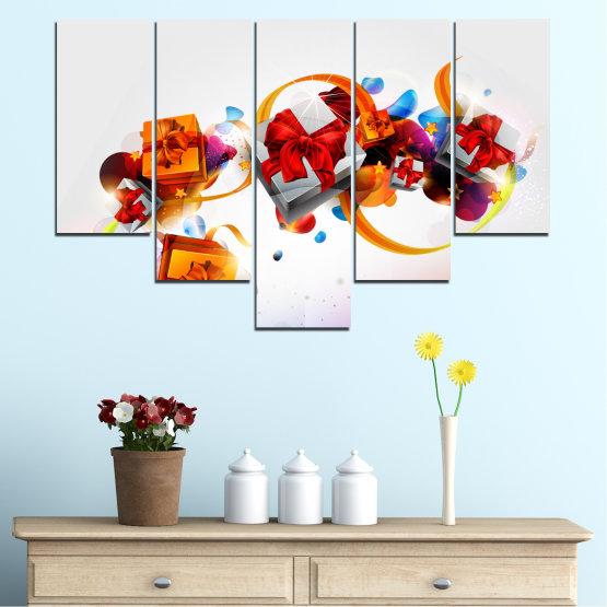 Декоративни панели и картини от канава - от 5 части №0324 » Тюркоаз, Сив, Бял » Колаж, Цветен, Подарък, Коледа, Празник Form #6