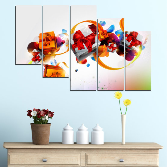 Canvas prints & wall decorative panels - 5 pieces №0324 » Turquoise, Gray, White » Collage, Colorful, Christmas, Gift, Holiday Form #7