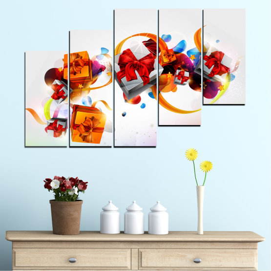 Canvas prints & wall decorative panels - 5 pieces №0324 » Turquoise, Gray, White » Collage, Colorful, Christmas, Gift, Holiday Form #8
