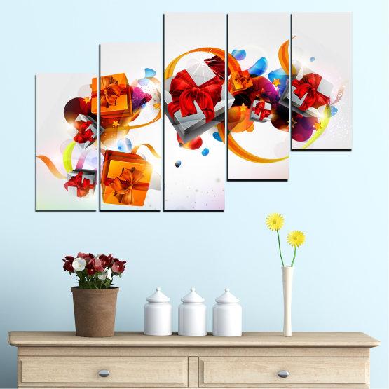 Декоративни панели и картини от канава - от 5 части №0324 » Тюркоаз, Сив, Бял » Колаж, Цветен, Подарък, Коледа, Празник Form #8