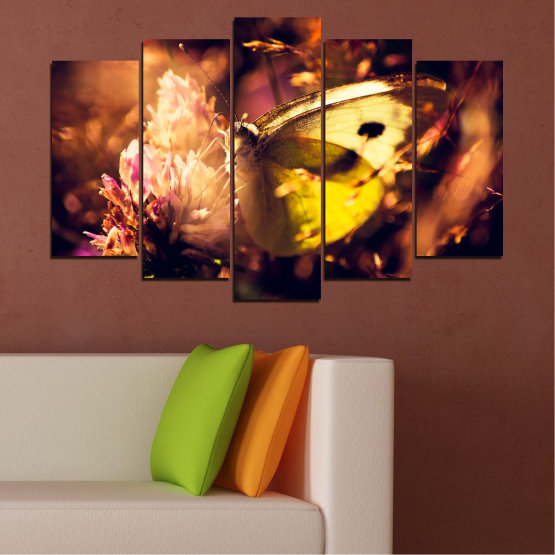 Canvas prints & wall decorative panels - 5 pieces №0325 » Red, Orange, Brown, Black » Flowers, Animal, Butterfly Form #1