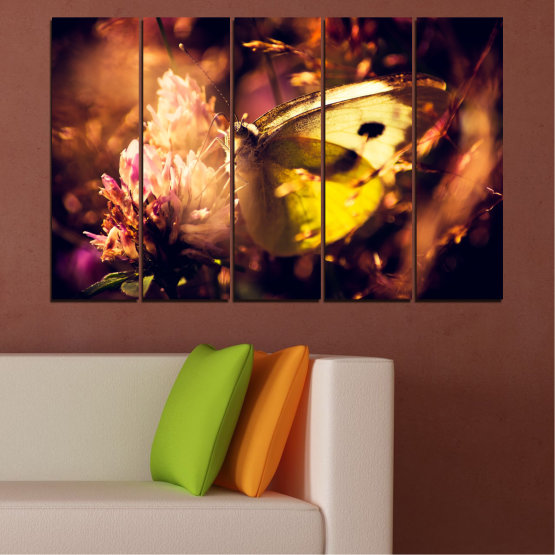 Canvas prints & wall decorative panels - 5 pieces №0325 » Red, Orange, Brown, Black » Flowers, Animal, Butterfly Form #2