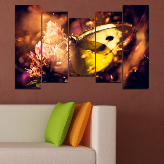 Canvas prints & wall decorative panels - 5 pieces №0325 » Red, Orange, Brown, Black » Flowers, Animal, Butterfly Form #4
