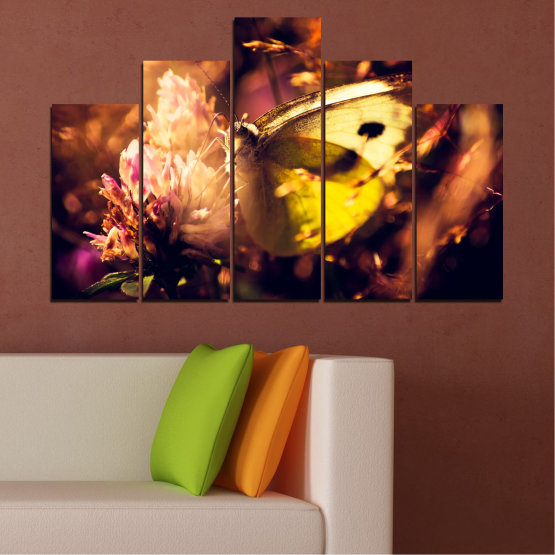 Canvas prints & wall decorative panels - 5 pieces №0325 » Red, Orange, Brown, Black » Flowers, Animal, Butterfly Form #5