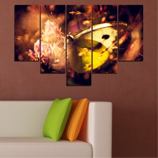 Canvas prints & wall decorative panels - 5 pieces №0325 » Red, Orange, Brown, Black » Flowers, Animal, Butterfly Form #6