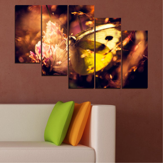 Canvas prints & wall decorative panels - 5 pieces №0325 » Red, Orange, Brown, Black » Flowers, Animal, Butterfly Form #7