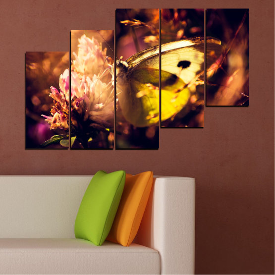 Canvas prints & wall decorative panels - 5 pieces №0325 » Red, Orange, Brown, Black » Flowers, Animal, Butterfly Form #8