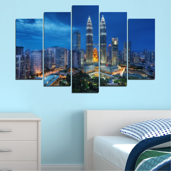 Canvas prints & wall decorative panels - 5 pieces №0326 » Blue, Black, Gray, Dark grey » City, Lights, Night, Skyscraper, Malaysia, Аsia, Petronas, Tower Form #1