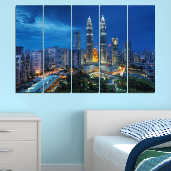 Canvas prints & wall decorative panels - 5 pieces №0326 » Blue, Black, Gray, Dark grey » City, Lights, Night, Skyscraper, Malaysia, Аsia, Petronas, Tower Form #2
