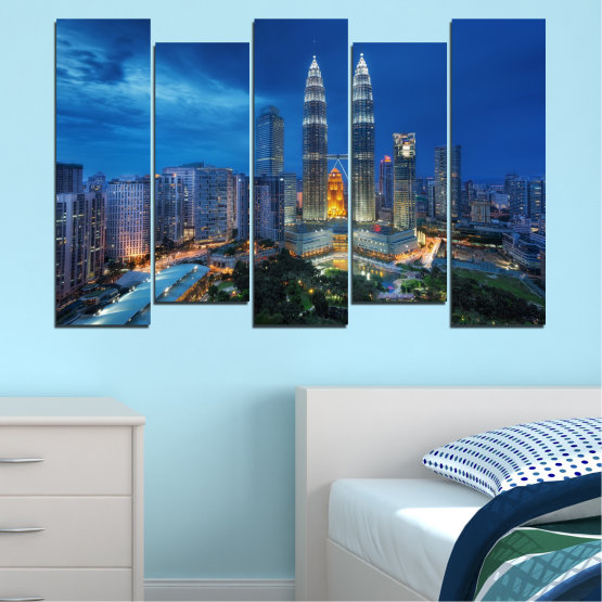 Canvas prints & wall decorative panels - 5 pieces №0326 » Blue, Black, Gray, Dark grey » City, Lights, Night, Skyscraper, Malaysia, Аsia, Petronas, Tower Form #3