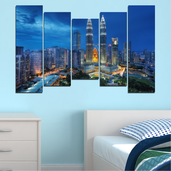 Canvas prints & wall decorative panels - 5 pieces №0326 » Blue, Black, Gray, Dark grey » City, Lights, Night, Skyscraper, Malaysia, Аsia, Petronas, Tower Form #4