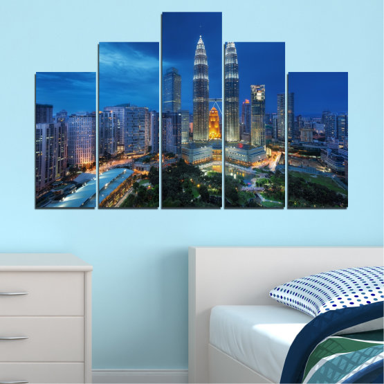 Canvas prints & wall decorative panels - 5 pieces №0326 » Blue, Black, Gray, Dark grey » City, Lights, Night, Skyscraper, Malaysia, Аsia, Petronas, Tower Form #5