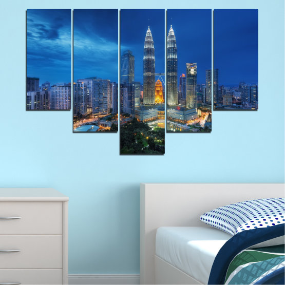 Canvas prints & wall decorative panels - 5 pieces №0326 » Blue, Black, Gray, Dark grey » City, Lights, Night, Skyscraper, Malaysia, Аsia, Petronas, Tower Form #6