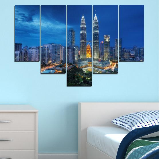 Εκτύπωση σε καμβά και διακοσμητικά πάνελ τοίχου - 5 τεμάχια №0326 » Μπλε, Μαύρος, Γκρί, Σκούρο γκρι » Πόλη, Φώτα, Βράδυ, Ουρανοξύστης, Μαλαισία, Аsia, Petronas, Πύργος Form #6